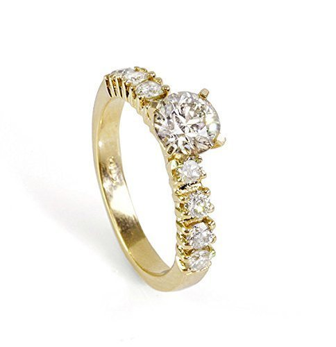 Prong Si2 Clarity Diamonds - 0.90 Carats Round Cut/Shape Classic Yet Unique engagement Diamond Ring for women 14k yellow gold Pave Set with a 0.5 Carat (Clarity SI2-I1 Color J-L Center Stone)