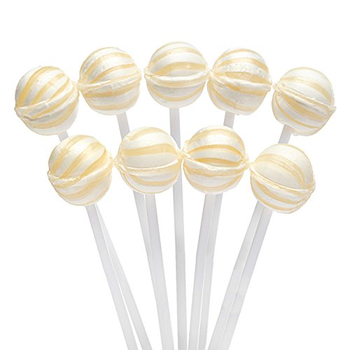 White Sassy Suckers Striped Petite Ball Lollipops - Pineapple: 400-Piece Bag