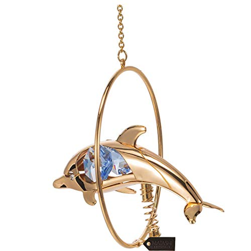 Matashi 24K Gold Plated Crystal Studded Dolphin in A Hoop with Blue Crystal Ornament