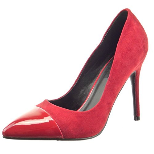 Sopily - Scarpe da Moda scarpe decollete stiletto alla caviglia donna lucide verniciato Tacco Stiletto tacco alto 10.5 CM - Rosso