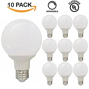Vanity Light Bulbs Daylight : 10 PACK - UL & ENERGY STAR LISTED - 6W Dimmable G25 LED Bulb, 60W Equivalent Vanity Light Bulb ...