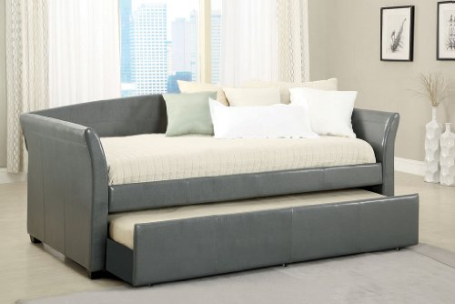 Amazon.com: New Gray Upholstered Bycast Leather Twin Day Bed With Twin Trundle  Bed: Kitchen U0026 Dining