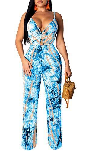 LightlyKiss Womens Sexy Spaghetti Strap Colourful Sleeveless Loose Long Pants Jumpsuits -