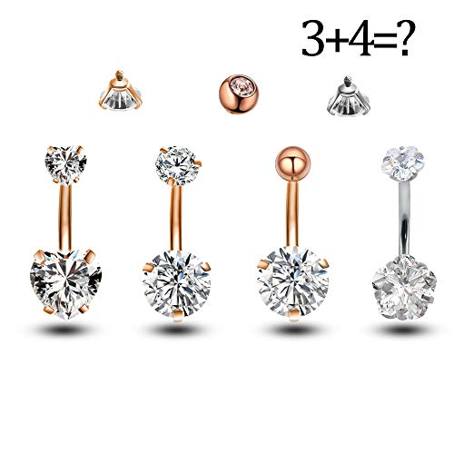elly Button Rings 316L Stainless Steel Curved Barbell Belly Rings for Women Girls Mix and Match Series CZ Navel Rings Belly Piercing Jewelry(Equipped with 3 Alternate Top Zircon) ()