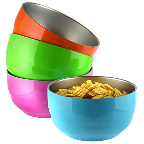 Set of 4 Colors - 24 Ounce Double Wall Stainless Steel, Dishwasher Safe, Kids and Toddler Cereal Bowls, Soup Bowls, Snack Bowls, Ice Cream Bowls, Dessert Bowls, Colors: Orange, Blue, Green, Pink