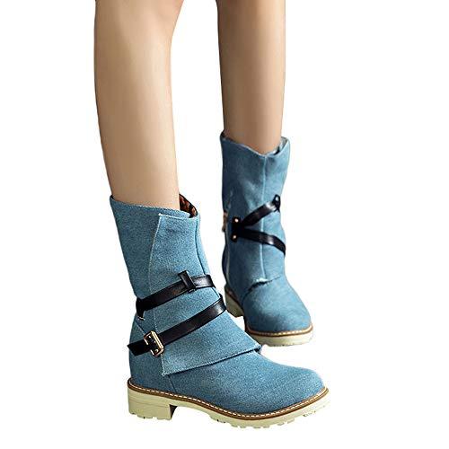 Ecco Martin Haute Femmes Bottines Tube Boucle Bottes Bleu En Plaqu Coins Sangle Alikeey Plage Chaussons Avec Chaussures Or Cheville TpwAFAq