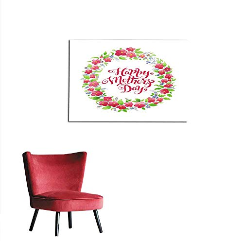 homehot Photographic Wallpaper Greeting Card Happy Mother s Day with Flower Wreath and Lettering Watercolor Card Mural -