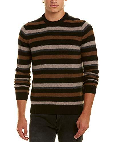 - Vince Men's Striped Cashmere Sweater, Black Combo, X-Large