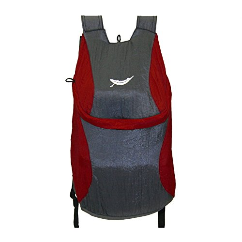 Trek Light Gear Ultralight Bindle Daypack - The Best Lightweight 14L Backpack - Made from Ultra Strong & Durable Parachute Nylon - Great for Travel, Hiking, Camping & School - Packs Down to 3.5oz Pouch {Red/Charcoal}