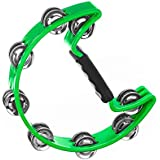 Tambourine for Kids and Adults - Easy to Use - Comfortable Hand Held Percussion Instrument - Great for Choirs - Percussion Ensembles - Birthday Parties - Drum Circles - Etc (Single Row)