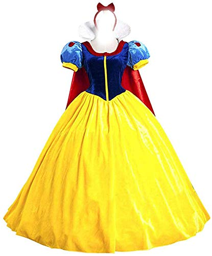 Halloween Women's Snow White Princess Costume Dress for Adult Classic Deluxe Ball Gown Cosplay with Cloak Headband (M, Snow White) -