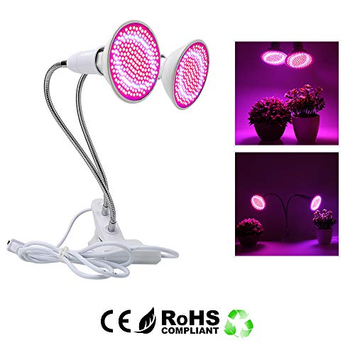 MRJ Dual Head 400 LED Grow Light,Grow Bulb with Desk Clip,360 Degree Flexible Gooseneck Growing Lamp for Flower Vegetable Indoor Seeds Growing Garden Greenhouse Hydroponic Plants(E27 Dual lamp)