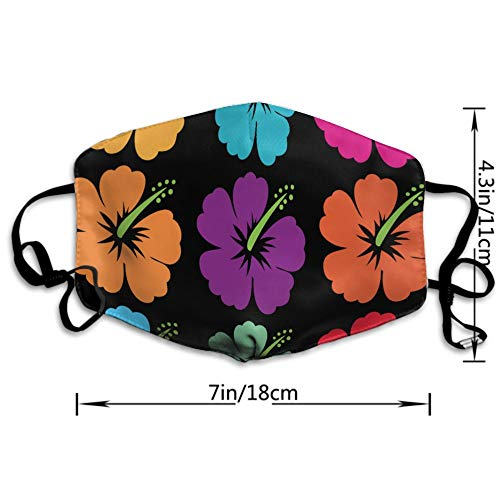 AGRBLUEN Women Men Kids Fashion Adjustable Mouth Mask Anti Dust Pollution Face Mouth Mask Reusable Mouth Masks for Cycling Camping Travel - Hawaiian Flower Hibiscus