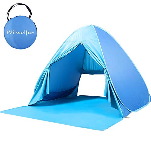 (Wilwolfer Pop Up Baby Beach Tent Sun Shelter Portable UV Protection Shade Cabana Canopy for Outdoor and Indoor)