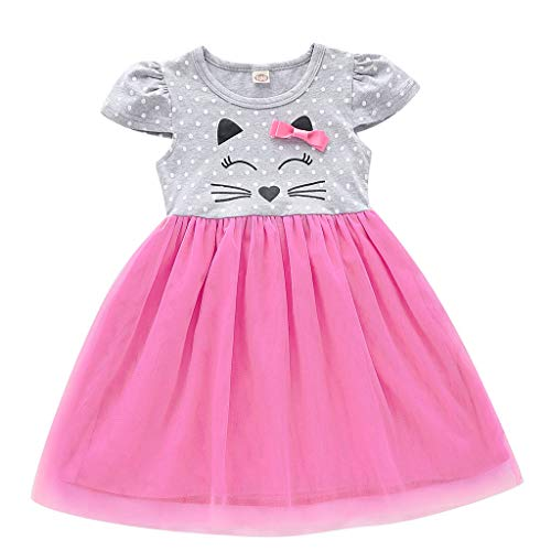 Toddler Kid Baby Girl Cartoon Tulle Patchwork Bow Princess Dress Dot Short Sleeve Clothes Pink
