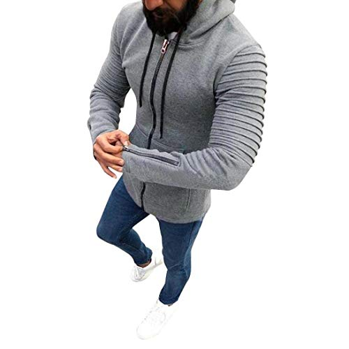 (Zainafacai Slim Jacket-Men's Pullover Hooed Fleece Hoodies Sweatshirt Wool Warm Coats (Gray, XL))