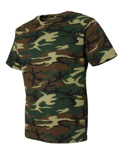 (Code Five 3906 Adult Camo Short Sleeve T-Shirt Army Woodland Digital Urban Camouflage Tee (Medium, Green Woodland) )