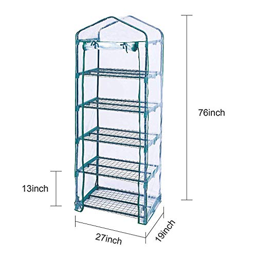 Homes Garden 5-Tier Shelves Mini Indoor/Outdoor Greenhouse Warm Tight Commercial PVC Clear Greenhouse Plant Flower Grow Tent Zipper Roll Up Front 27 in. L x 19 in. W x 76 in. H #G-G304A00 by Homes Garden (Image #1)