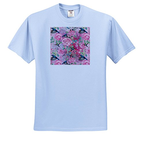 Uta Naumann Watercolor Illustration Flowers - Vintage Watercolor Roses With Hummingbirds In Pink - T-Shirts - Adult Light-Blue-T-Shirt Small (Hummingbird Rose T-shirt)