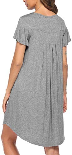 Ekouaer Nightgown Womens Sleepshirt Soft Sleepwear Pleated Nightshirt Comfy Sleep Dress Short Sleeve Flare Nightdress S-XXL