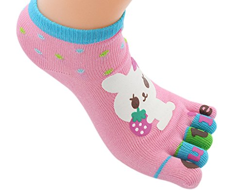 BONAMART Socks Girl Kids Funny with Toes Cute Novelty, 1 sock pack Cotton 5-8 Years Old