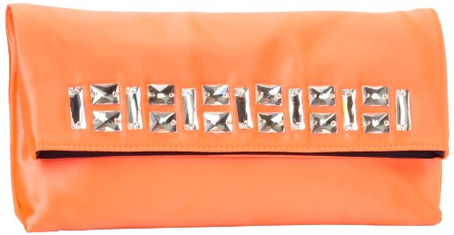 Juicy Couture Sateen Jade Clutch,Hot Coral,One Size