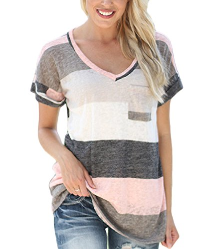 Yidarton Womens V-neck Short Sleeve Shirts Striped Blouse Tees Tops Pink Large