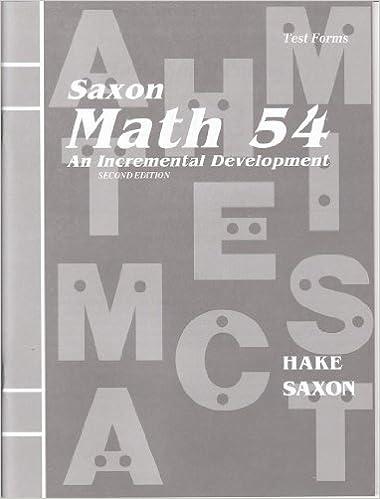 Saxon: Math 65 - An Incremental Development - Test Masters