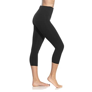 8a6a00e58528c High Waisted Soft Capri Leggings for Women-Tummy Control and Elastic Opaque  Slim-One