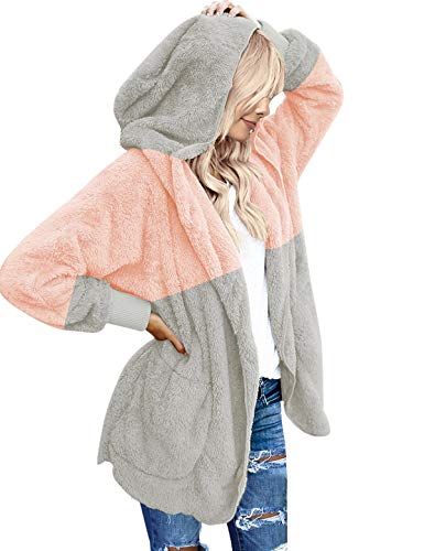 (ACKKIA Womens Loose Open Front Fuzzy Fleece Cardigan Coat Color Block Long Sleeve Hooded Outerwear Pink and Light Grey XX-Large (Fits US 20-US 22))