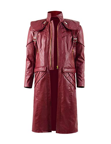 DMC 5 Halloween Cosplay Costume Leather Outfits Devil May Cry Dante Jacket Pants Set (L, Maroon) (Dmc Dante Coat)