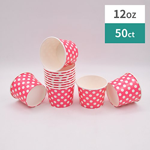 Paper Ice Cream Cups - 12 oz Polka Dot Dessert Bowls - Comes In Many Colors 50 Count (red, 50) -