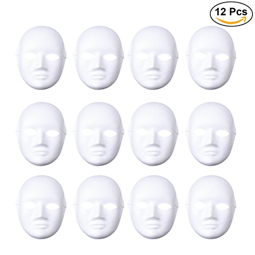 OULII Female Full Face DIY Mask Halloween Blank Painting Mask Cosplay for Masquerade Halloween Party Favors 12pcs