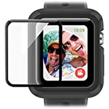 baozai Compatible Apple Watch Case 42mm,Rugged Shockproof iWatch Case + Tempered Glass Screen Protector for Apple Watch Series 1/2/3 (Black)