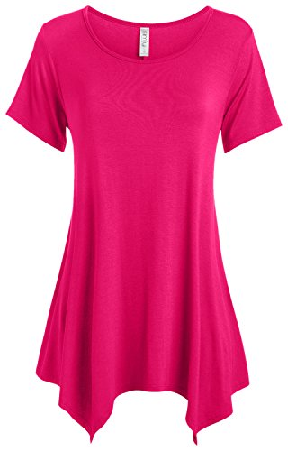 Fuchsia Tunic Hot Pink Tunics for Women to Wear with Leggings Reg and Plus Size (Size Medium, Fuchsia) (Pink Top Tunic)