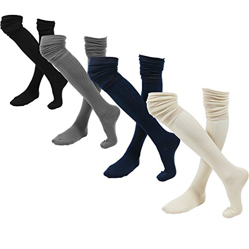 WowFoot Ladies' Knit Over The Knee High Socks Women Slouch Stockings (Rib W Slouch Top Pack:Black,Ivory,Navy,Gray)