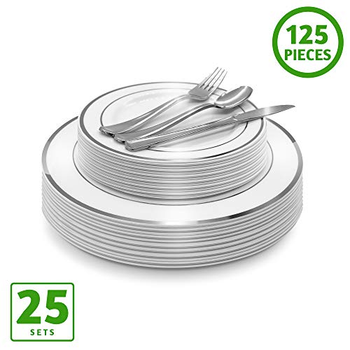 - EcoEarth Silver Plastic Plates & Cutlery Combo Set (125 Piece Set), Clear Disposable Plastic Dinnerware Set Includes 25 Dinner Plates, 25 Dessert Plates, 25 Forks, 25 Knives, 25 Spoons (Silver Rim)