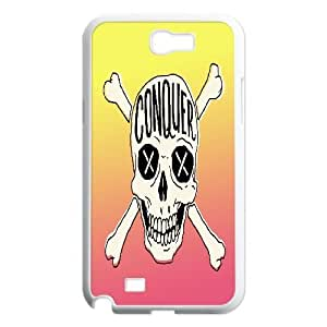 {Funny Quote Series} Samsung Galaxy Note 2 Case Typography Conquer Skull, Protector With Design Case Yearinspace - White