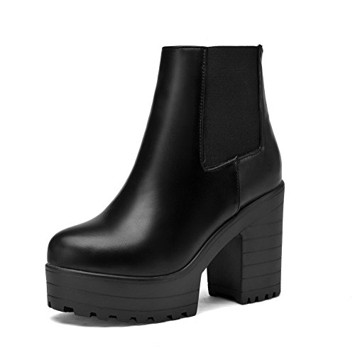 Women's Low-Heels Solid Round Closed Toe Soft Leather Pull-On Boots