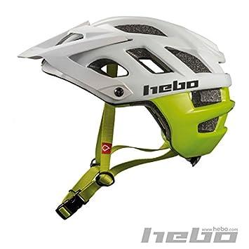 HEBO Crank 1.0 Casco, Blanco/Verde, 55-58 cm