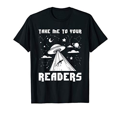 Alien Reading English Teacher Library Space Funny T-shirt