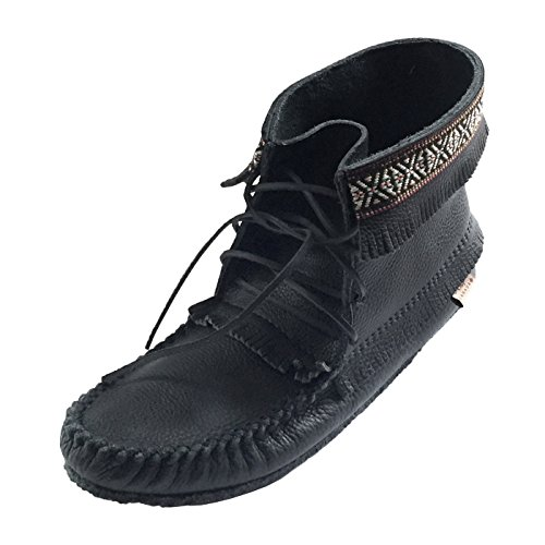 Laurentian Chief Men's Fringe and Braid Apache Moccasin Boots Black (Brown Apache Fringed Shoes)