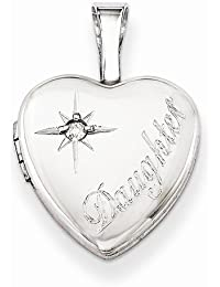 Solid 925 Sterling Silver & Diamond Daughter 12mm Love Heart Locket Opens Engravable Pendant (.01 cttw.) (3mm)12mm Width)