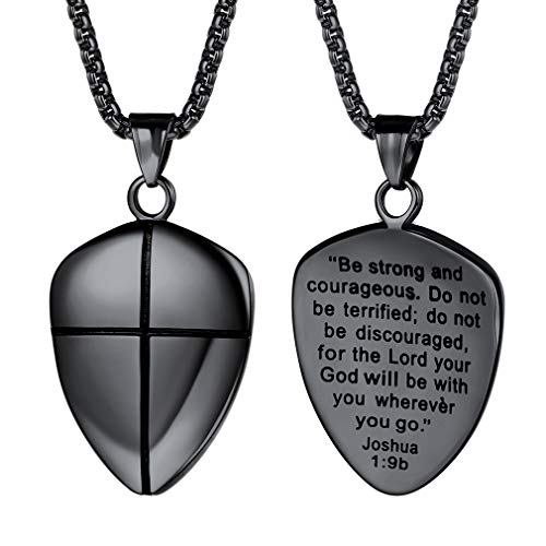 FaithHeart Shield of Faith Pendant Stainless Steel/18K Gold Plated Joshua 1:9 Cross Amulet Necklace with 22 Inches Chain (Black)