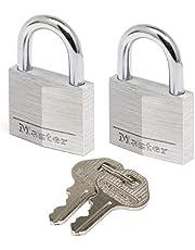 Master Lock 9130EURT 2-delige set hangslot met sleutel van aluminium, grijs, 3 x 5,2 x 1,6 cm