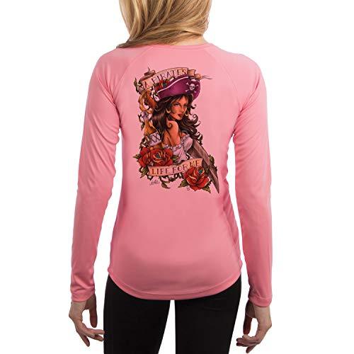 (SAND.SALT.SURF.SUN. Pirate Girl Women's UPF 50+ Long Sleeve T-Shirt X-Small Pretty Pink)