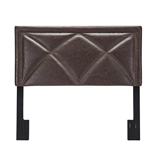 Andeworld Classic Nailhead Faux Leather Upholstered Height Adjustable Queen Size Full / Queen Headboard Brown (Leather Set Headboard)