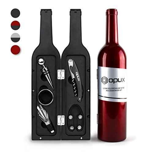 Premium Wine Accessories Gift Set, Wine Gifts by OPUX | 5 Pcs: Corkscrew Opener, Foil Cutter, Wine Stopper, Drip Ring, and Wine Pourer | Novelty Gift For House Warming, Party, Valentine (Red)