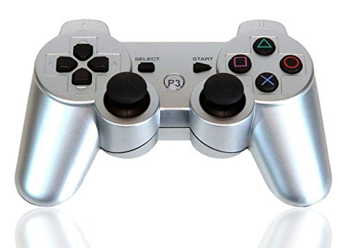 XFUNY Premium Wireless Bluetooth Six Axis Dualshock Game Controller for PlayStation 3 PS3 (Silver)