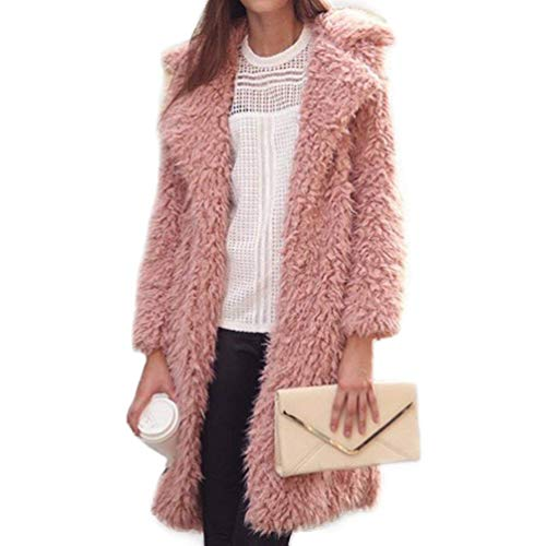 Parkas Mujer Gabardina Solapa Invierno Gabardinas De Larga Termica Sólido Color Lana Modernas Rosa Cómodo Abrigo Largos Moda Manga Bx5qaWz
